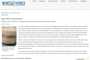 High YAN Fermentation Article Screenshot