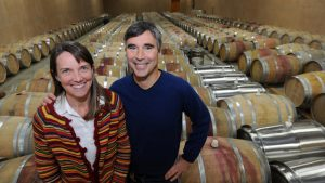 Sarah O'Herron, Founder, Black Ankle Vineyards in wine cellar