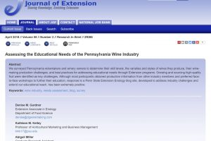 Assessing the Educational Needs of the Pennsylvania Wine Industry